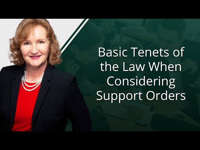 Basic Tenets of the Law When Considering Support Orders