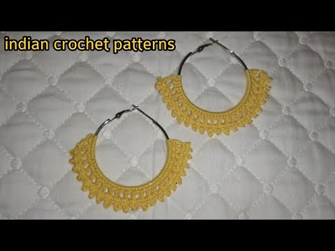 Crochet Tutorial,Crochet Earrings tutorial in Hindi/Urdu,Indian crochet patterns