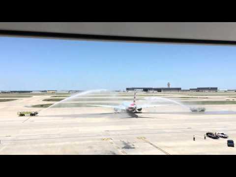 Inaugural American Airlines Flight Dallas - Hong Kong.