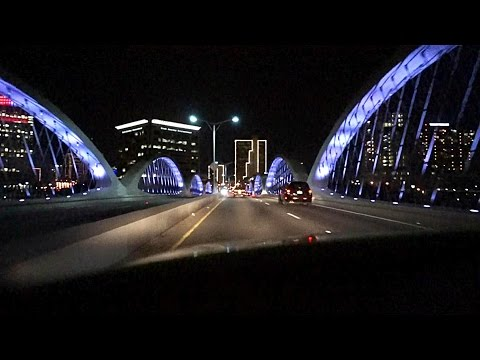 Driving through Fort Worth Texas at night.