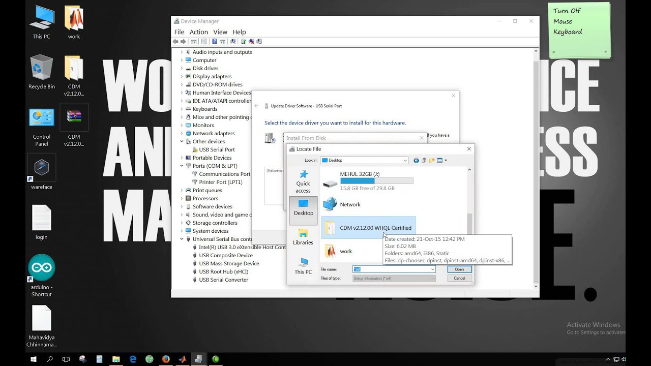 ftdi driver install windows 10