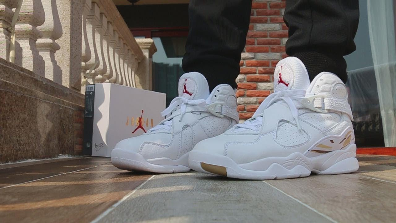 595f0a7a9086 Air Jordan 8 OVO White On Feet Review - YouTube