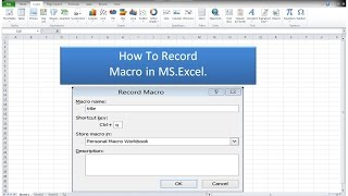 MS.Excel 2016 II Macro Recording II MS.Excel lectures in urdu
