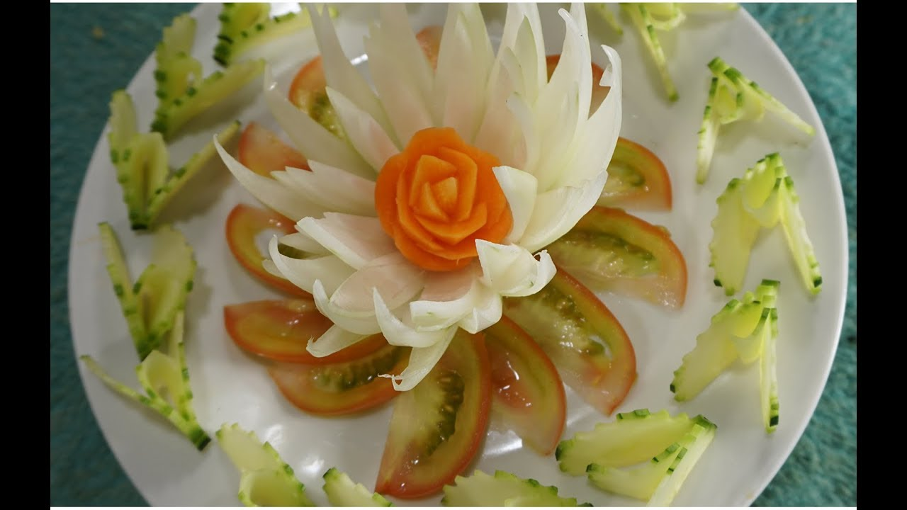 How to Make Onion Carrot Cucumber Flower -  Vegetable Carving Art