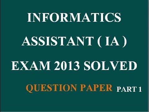 IA ( Informatics Assistant ) Suchana Sahayak previous exam 2013 Solved Papers Part 1
