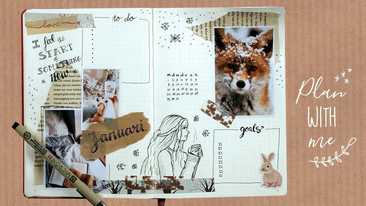 januari spread maken - plan with me bullet journal nederlands