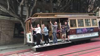 Powell-Hyde Cable Car 7 @ Powell St & Bush St San Francisco California (Slow Motion)