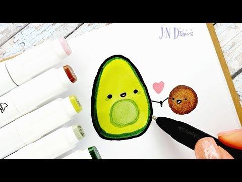 Как Нарисовать АВОКАДО Простые Рисунки В Скетчбук, Личный Дневник Как Рисовать В Стиле Каваии