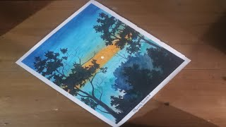 Beautiful evening scenery drowing with oil pastels......