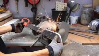 Sharpening a Machete on the Grinding Wheel
