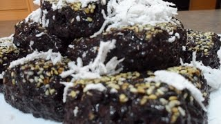 Black Sweet Rice in Palm Sugar Dessert Recipe (Triep Chmau)