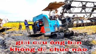 MÁY CẮT LÚA 105x KÉO DC70 BỊ LẦY KHÔNG TƯỞNG NỔI máy gặt đập Liên Hợp