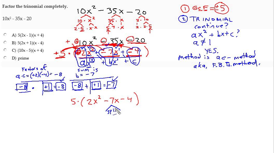factor a trinomial using ac method with gcf youtube