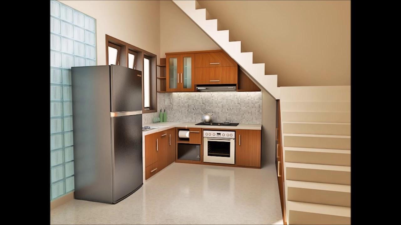desain kitchen set bawah tangga minimalis youtube