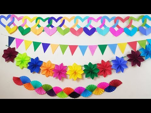 4 DIY Easy Party Decorations Ideas |  Party decorations With Paper Rosettes | Paper girl