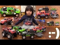 Children's Toy Trucks! Monster Truck Wheelie Playtime! Jeep, Pickup Truck and Motorcycles!