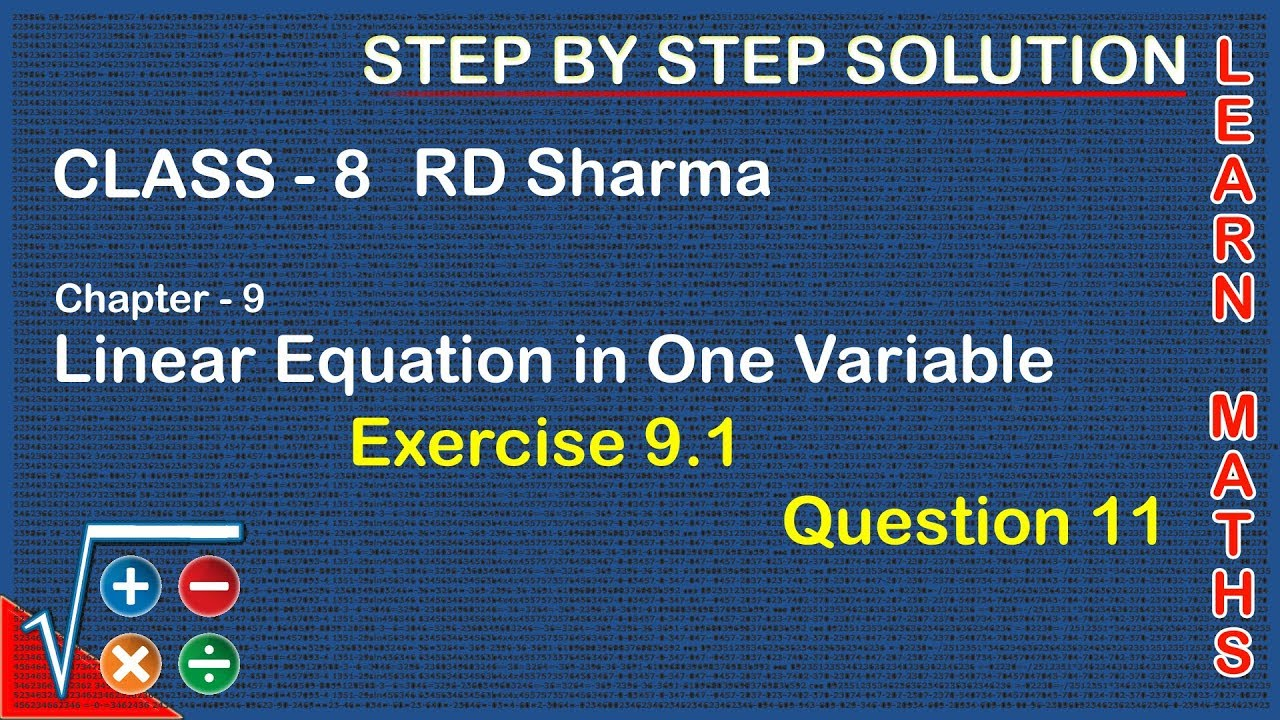 Workbooks linear equations in one variable worksheets for class 8 : Linear Equations in One Variable | Class 8 Exercise 9.1 Question ...
