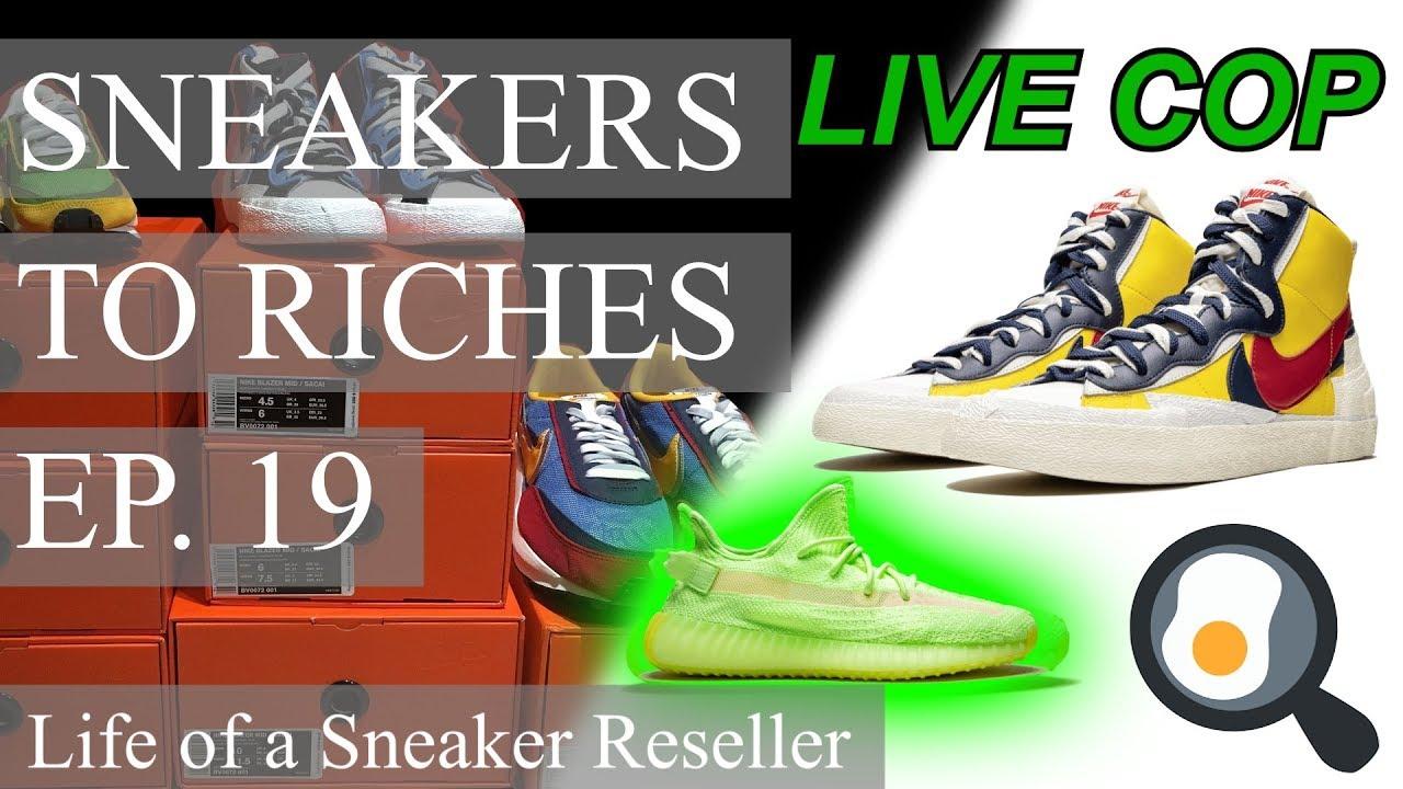 4e480fca20 Sneakers To Riches Ep 19 - Nike Sacai Blazer / Waffle, Yeezy Glow LIVE COP
