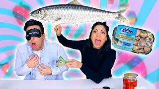 TRYING GROSS FOOD BLINDFOLD CHALLENGE *NASTY FISH* *BARF*