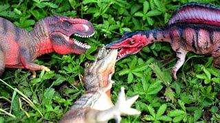 Spinosaurus vs T Rex vs Raptor Dinosaurs Toys For Kids