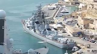 Royal Navy HMS Dragon & Russian Navy warship Smetlivy in Malta