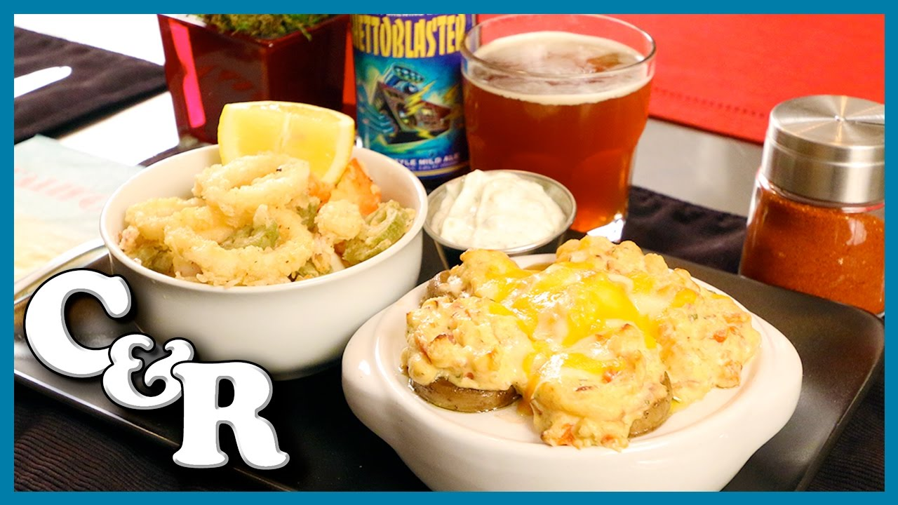 Shrimp Stuffed Mushroom Caps & Calamari with Tzatziki Sauce Recipe - Cook & Review Ep #47