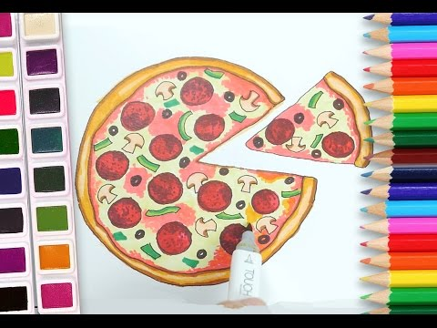 How To Draw A Pizza Drawing And Coloring Tutorial For Kids