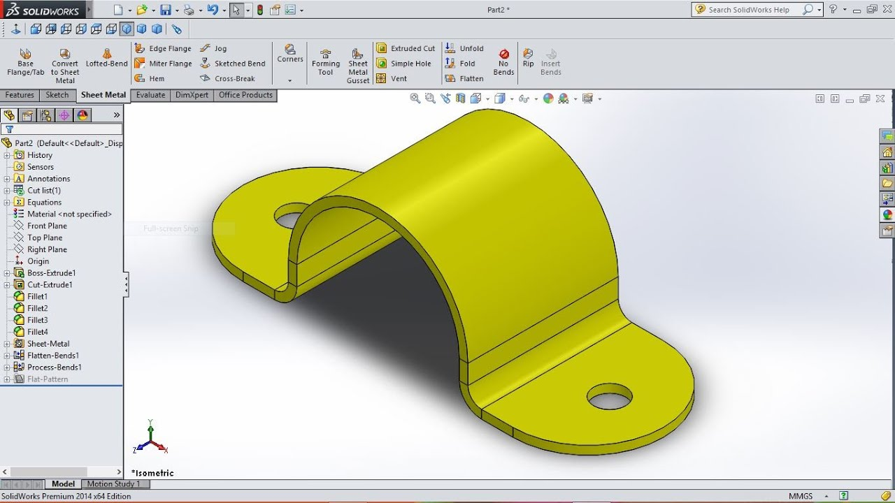 Solidworks Tutorial How To Create U Bracket In Sheet Metal
