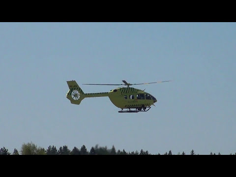 Ilmari Medical/Rescue helicopter take-off and landing at Kuopio Airport