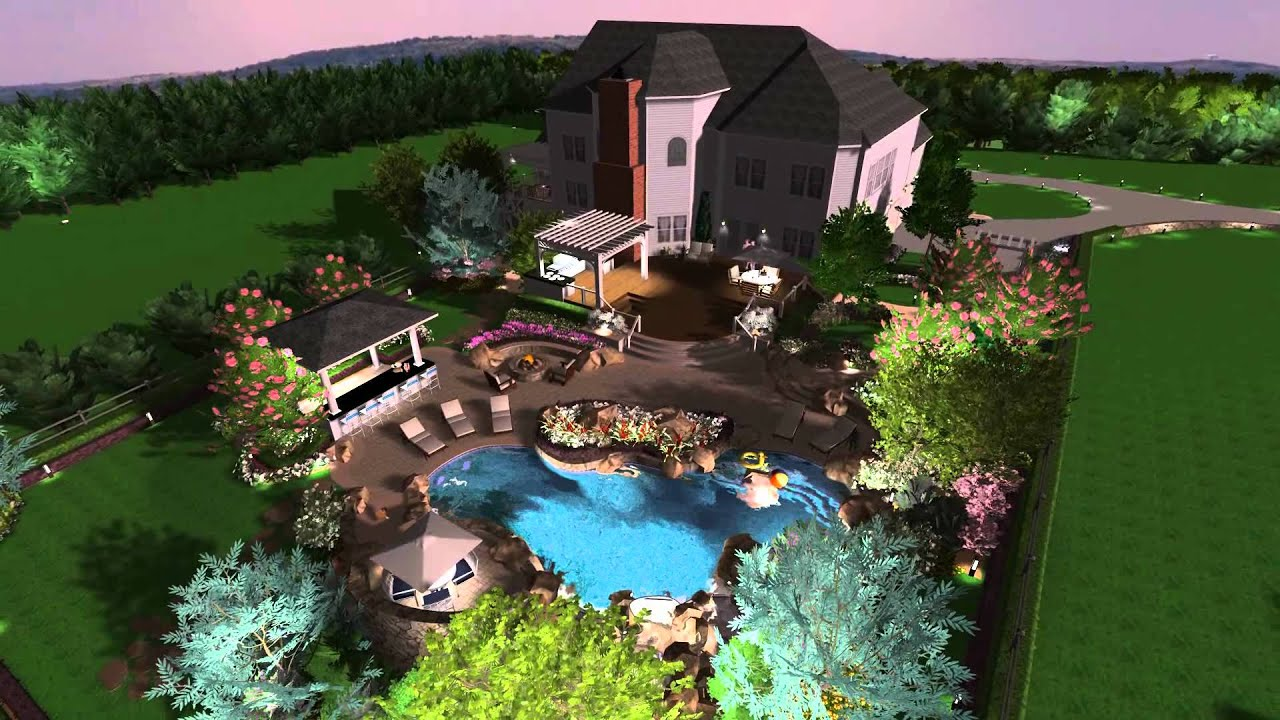 3D Landscape And Pool Design   Virtual Presentation Studio Presents  Northern, Va Project   YouTube
