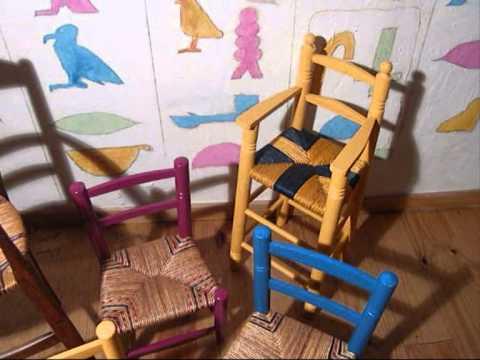 Chaises enfants rempaill youtube - Refaire une assise de chaise ...