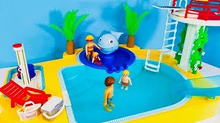 Playmobil SUMMER FUN CHILDREN'S Pool with Whale Fountain Playset Opening Toy Video!