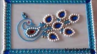 vuclip DIY-Beautiful Kundan Peacock Rangoli,Peacock rangoli motif,How to make peacock rangoli