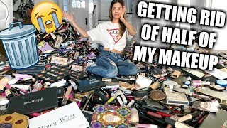 GETTING RID OF HALF OF MY MAKEUP COLLECTION | BIGGEST DECLUTTER EVER!