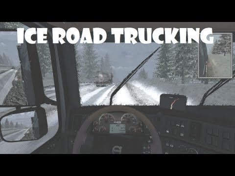 Euro Truck Simulator 2 - Realistic Rain mod + Truckers Map V8, driving to the winter ice road.