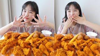 Bhc 핫뿌링클 치킨 먹방 _ 다리랑 날개 둘 다 시켰지롱 :D