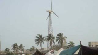 Pakistan first grid connected  150 k.w wind turbine.