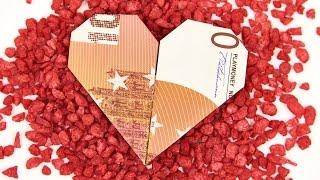 Herz aus Geldschein falten, einfach HERZEN aus GELD basteln, Anleitung