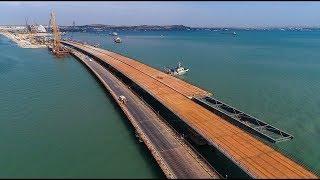 КРЫМСКИЙ МОСТ.Строительство сегодня 24.11.17.Установка части моста.Принимающие полозья на 267А.