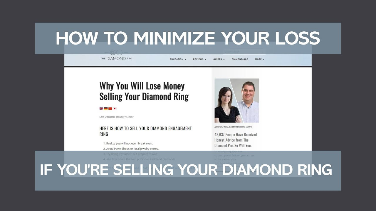 Why You Will Lose Money Selling Your Diamond Ring