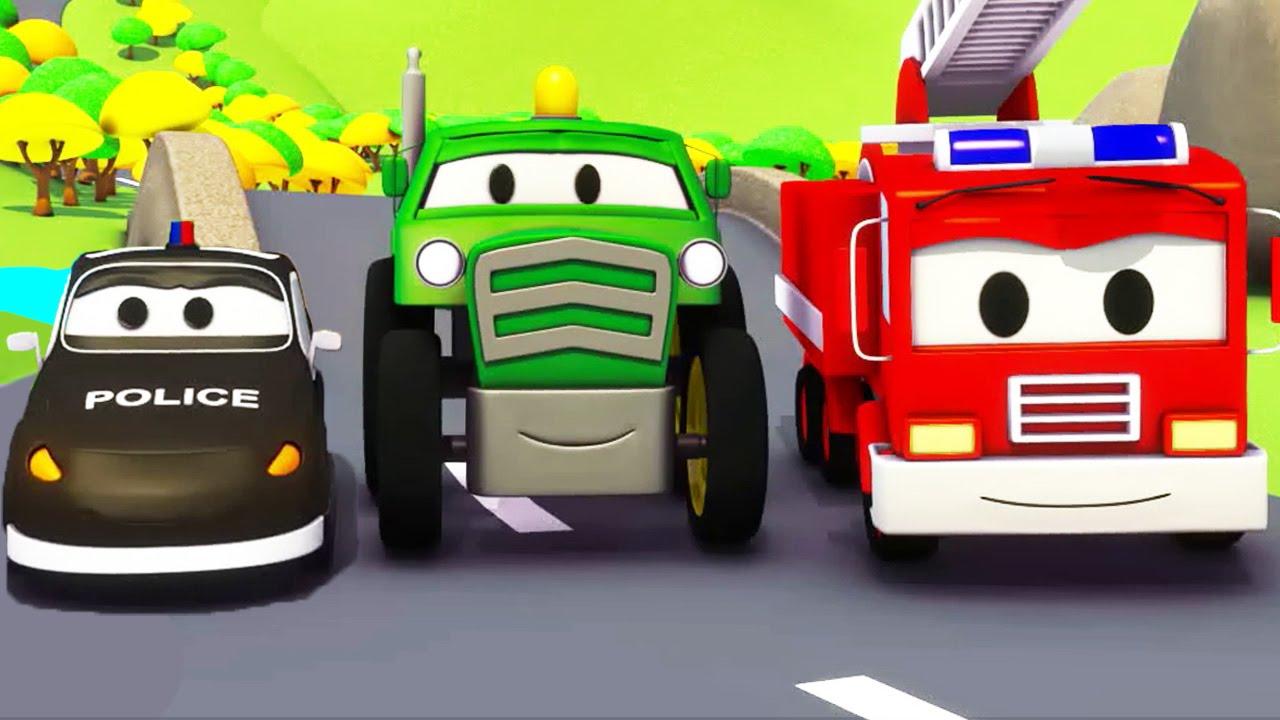 Tractor & the Car Patrol Cartoon in Hindi ट्रक्टर और गश्ती कार अग्निशमक ट्रक और पुलिस कार ??????