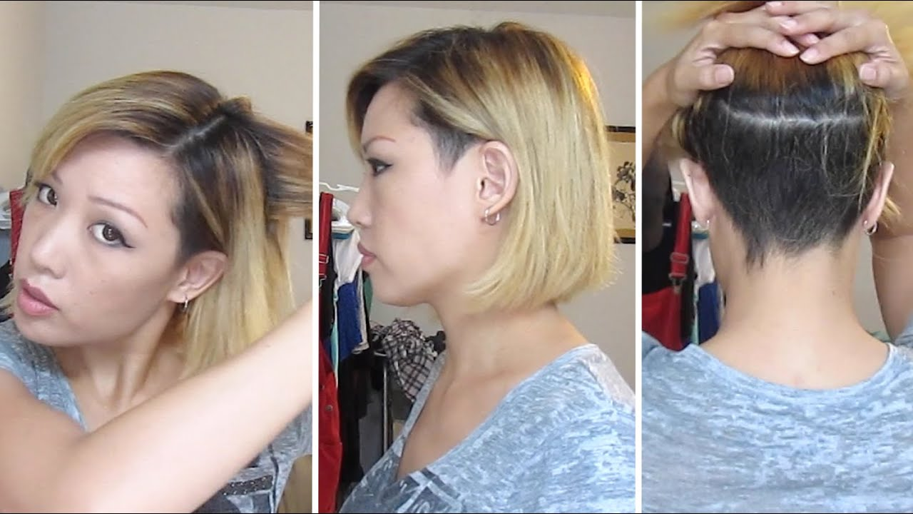 I did my own balayage and razored bob with undercut - YouTube