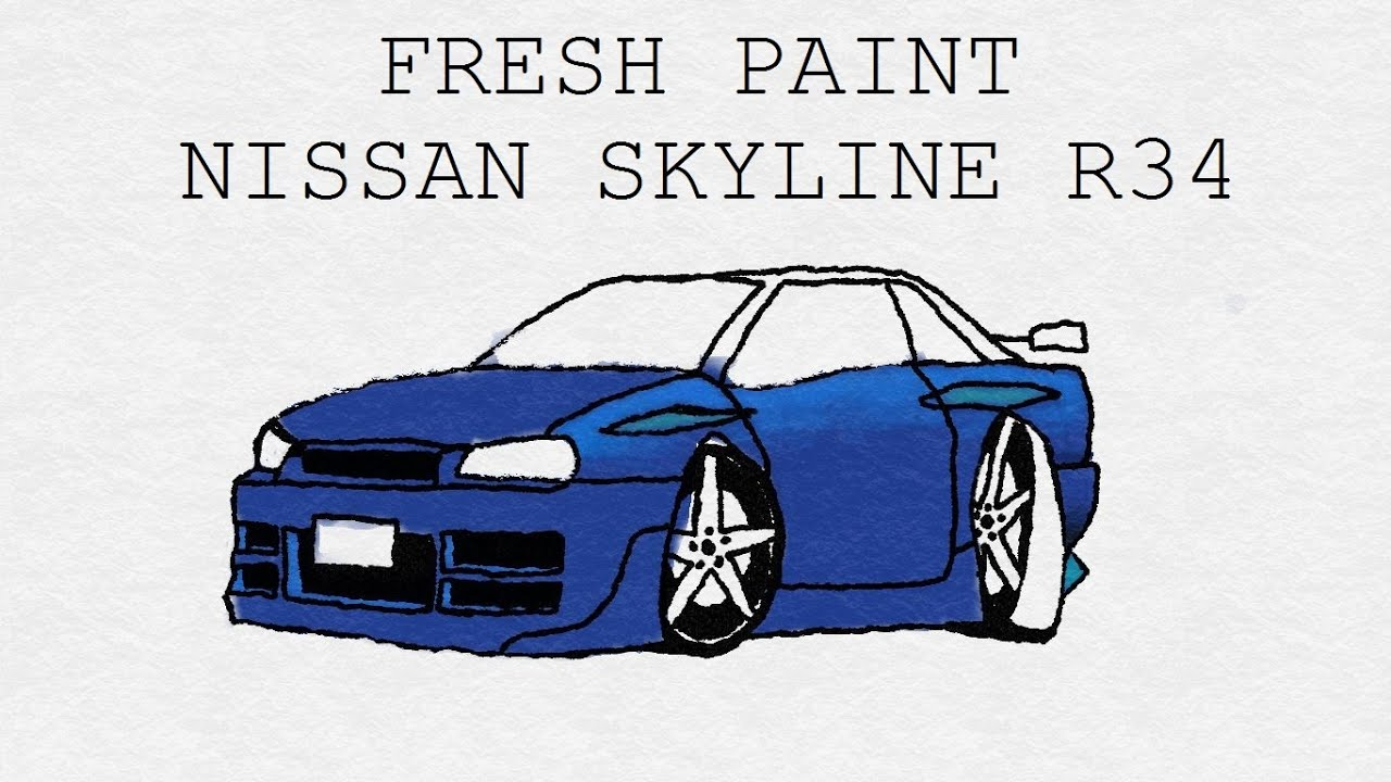 Fresh paint drawing nissan skyline r34 gt r youtube malvernweather Image collections