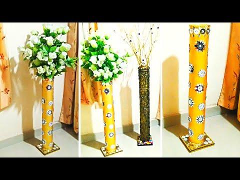 #Big Size DIY Flower Vase Make At Home From PVC Pipe#Flower Vase From PVC Pipe With Mirror Work#
