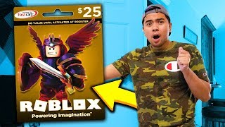 ROBLOX Giving BEST FRIEND the *SECRET* GOLDEN ROBUX GIFT CARD!!