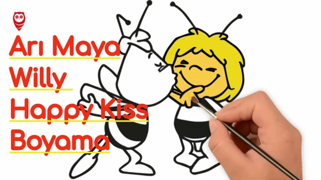 Arı Maya Ve Willy Happy Kiss Boyama Ve çizim Sayfası çocuklar Için Nasıl Yapılır