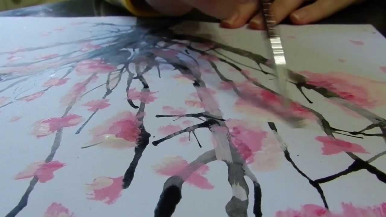 Como pintar un arbol de cerezo how to paint a cherry for Como dibujar un mural en la pared