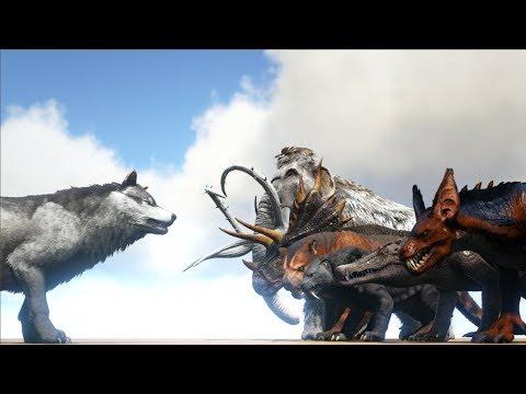 Direwolf VS ARK Creatures (Raptor, Kapro, Trike, Enforcer...) | Cantex