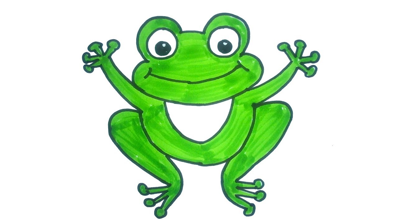 Cartoon Frog Drawing | How to draw a Cartoon Frog | Easy ...