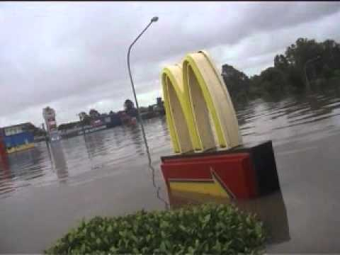 Queensland Floods 2011 Mcdonalds Canoe Through